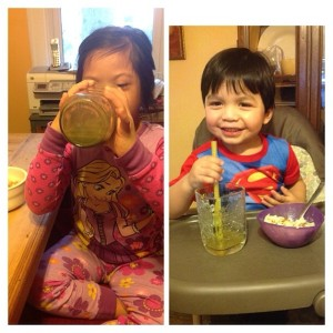 Ingrid's two youngest children, (Melanie (right) and Giovanni (left), enjoying their mother veggie juice.