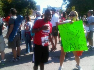 At Mile 17 of the 2010 Chicago Marathon, cheering on one of my closest friends