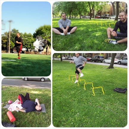 Clockwise from top left: Max doing sprints with a parachute; Max and Danny stretching after a workout session; Max jumping hurdles on a Saturday morning; Max at the end of one of his first workouts suffering the wrath of Danny's enthusiasm