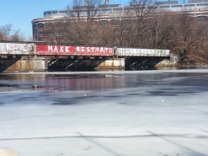 "My favorite sight on the river path (not the frozen river), ""Make History"""