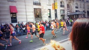Boston Marathon runners embarking on their 26th mile