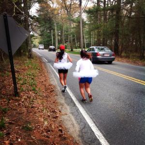 Swans Eloisa and Carol push through the rolling hills of their first leg