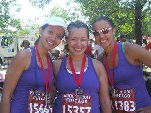 Carol, Suzie, and Elsa at the 2009 Rock N Roll Chicago Half Marathon