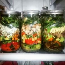 (L-R) Kickin' Buffalo Chicken Salad, Protein Packed Detox Salad, Carnita Fajita Salad